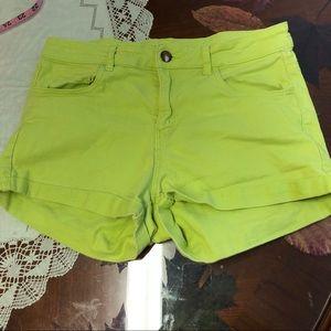 H&M high rise waisted lime green cuffed shorts